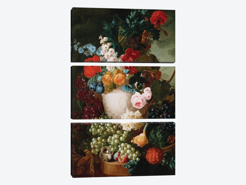 Roses, poppies and other flowers in a sculpted vase with fruit, a mouse and a bird's nest on a stone ledge  by Jan van Os 3-piece Canvas Print