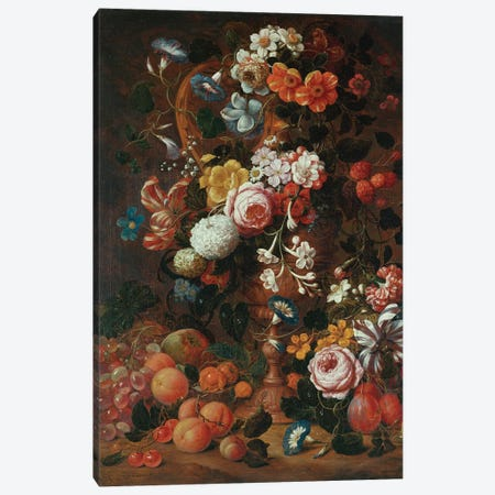 Roses, dahlias, convolvulus, a tulip and other flowers, in a sculpted urn, with grapes, plums and peaches nearby  Canvas Print #BMN5404} by Nicholaes van Verendael Canvas Art