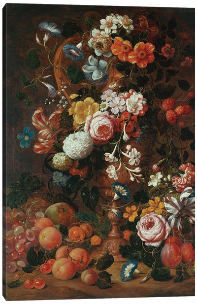 Roses, dahlias, convolvulus, a tulip and other flowers, in a sculpted urn, with grapes, plums and peaches nearby  Canvas Art Print