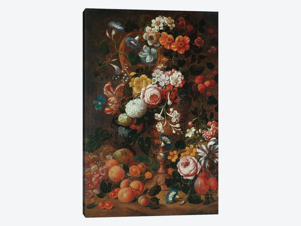 Roses, dahlias, convolvulus, a tulip and other flowers, in a sculpted urn, with grapes, plums and peaches nearby  by Nicholaes van Verendael 1-piece Canvas Art