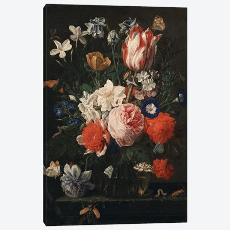 A rose, a tulip, morning glory and other flowers in a glass vase on a stone ledge, 1671  Canvas Print #BMN5405} by Nicholaes van Verendael Canvas Wall Art
