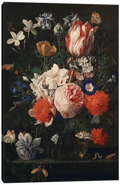 A rose, a tulip, morning glory and other flowers in a glass vase on a stone ledge, 1671  Canvas Art Print