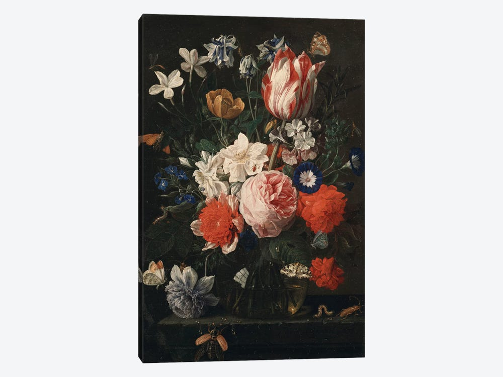 A rose, a tulip, morning glory and other flowers in a glass vase on a stone ledge, 1671  by Nicholaes van Verendael 1-piece Art Print