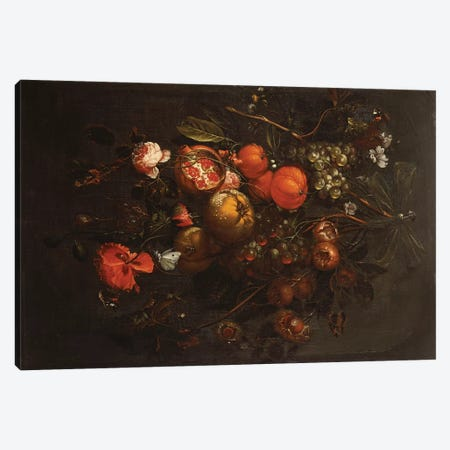 A Bouquet of Fruit and Flowers hanging from a Nail in a Niche  Canvas Print #BMN5406} by Cornelis de Heem Canvas Art