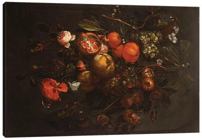 A Bouquet of Fruit and Flowers hanging from a Nail in a Niche  Canvas Art Print