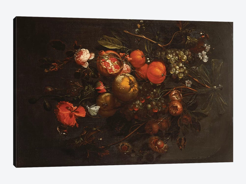 A Bouquet of Fruit and Flowers hanging from a Nail in a Niche  by Cornelis de Heem 1-piece Canvas Wall Art