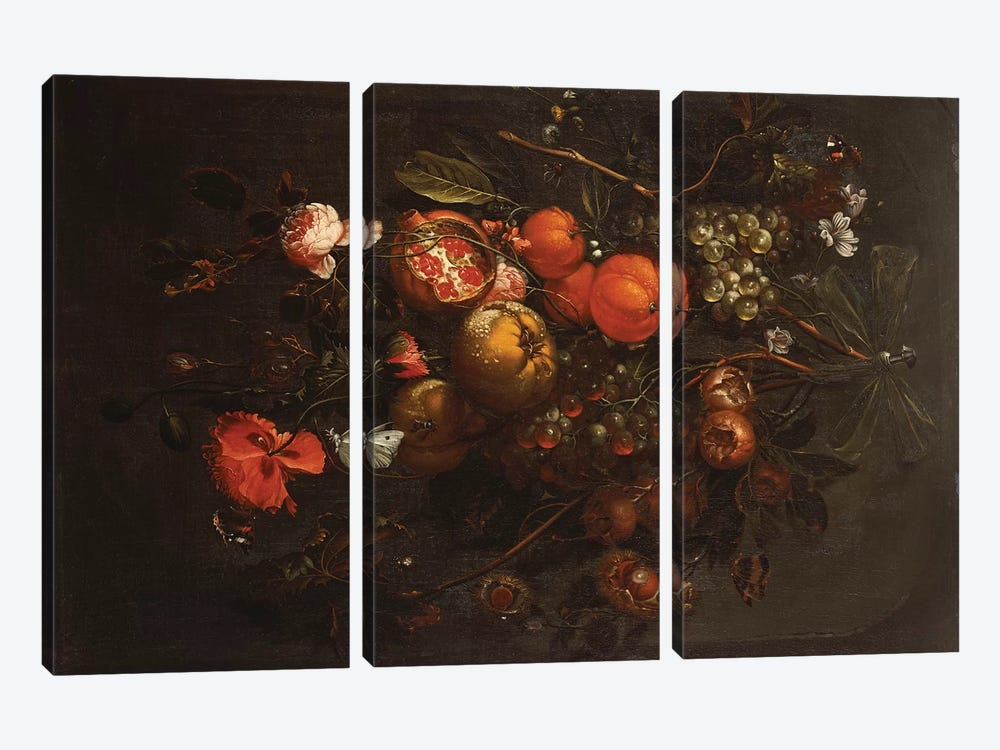 A Bouquet of Fruit and Flowers hanging from a Nail in a Niche  by Cornelis de Heem 3-piece Canvas Wall Art