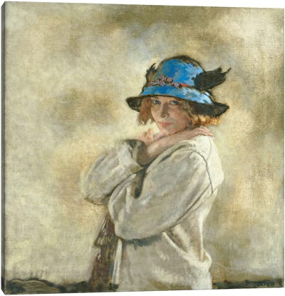 The Blue Hat  Canvas Art Print