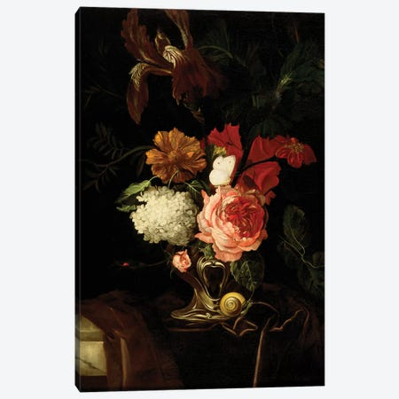A Rose, and Iris, Lilac and other Flowers in an Auricular Silver Vase with a Snail and a Butterfly on a draped Ledge  Canvas Print #BMN5411} by Willem van Aelst Canvas Artwork