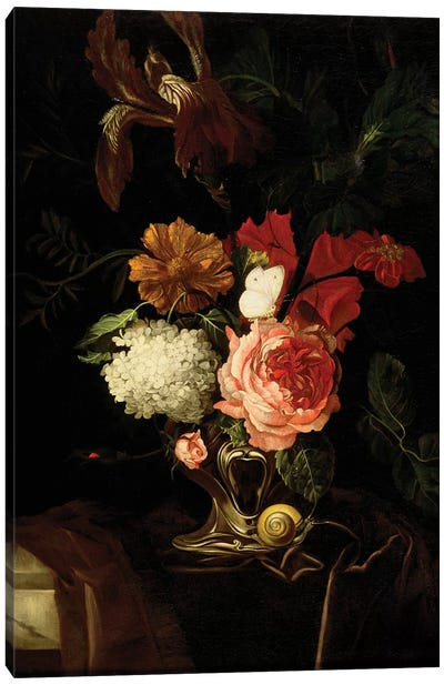 A Rose, and Iris, Lilac and other Flowers in an Auricular Silver Vase with a Snail and a Butterfly on a draped Ledge  Canvas Art Print