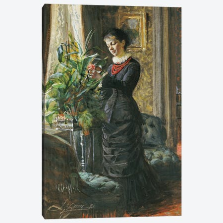 Portrait of Fru Lisen Samson, nee Hirsch, arranging Flowers at a Window, 1881  Canvas Print #BMN5414} by Anders Leonard Zorn Canvas Art Print