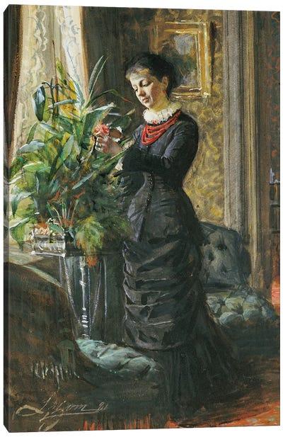 Portrait of Fru Lisen Samson, nee Hirsch, arranging Flowers at a Window, 1881  Canvas Art Print