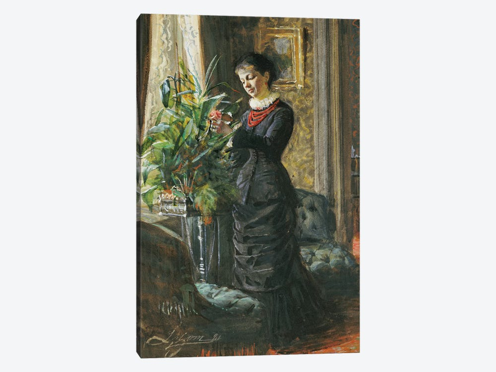 Portrait of Fru Lisen Samson, nee Hirsch, arranging Flowers at a Window, 1881  by Anders Leonard Zorn 1-piece Art Print