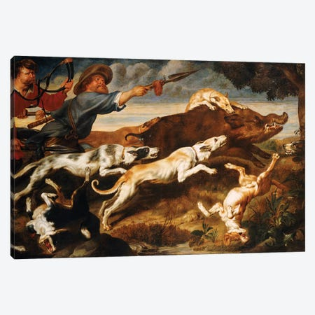 A Boar Hunt  Canvas Print #BMN5416} by Frans Snyders Canvas Art Print