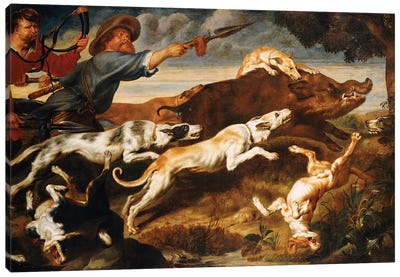 A Boar Hunt  Canvas Art Print