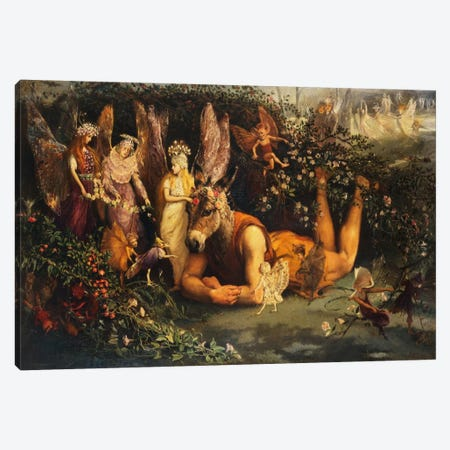Titania and Bottom, from A Midsummer Night's Dream  Canvas Print #BMN5418} by John Anster Fitzgerald Canvas Wall Art