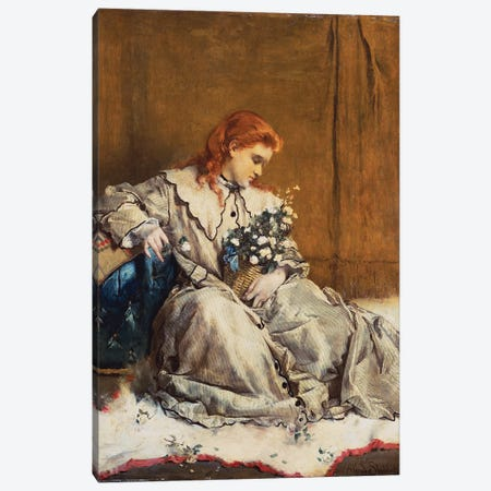 Daydream, Young Red-Headed Girl with Blue Ottoman  Canvas Print #BMN5420} by Alfred Emile Stevens Canvas Print