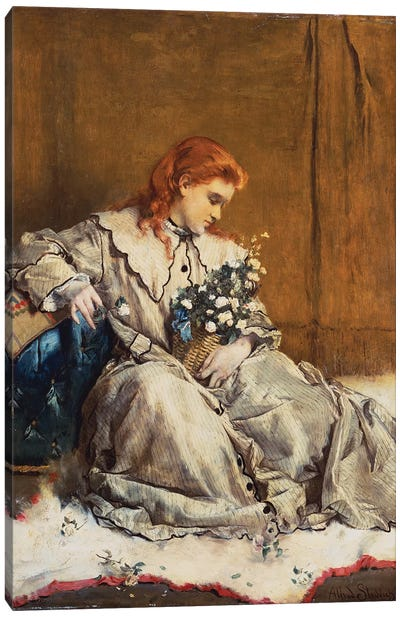 Daydream, Young Red-Headed Girl with Blue Ottoman  Canvas Art Print