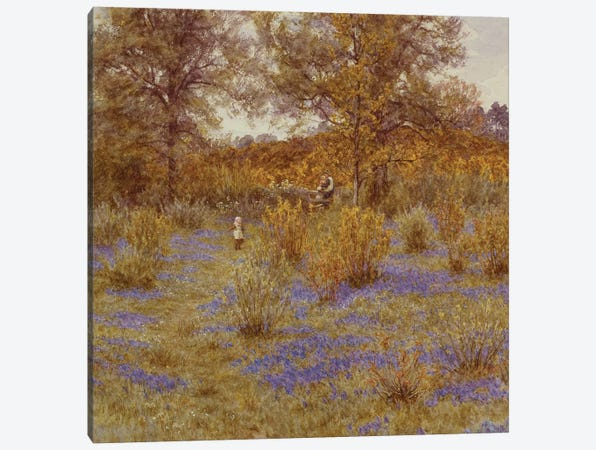 Bluebell Copse, 1889  Canvas Print #BMN5421} by Helen Allingham Art Print