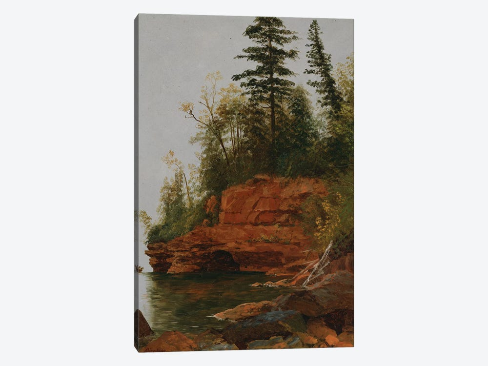 A Rocky Cove  by Albert Bierstadt 1-piece Canvas Wall Art