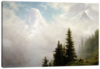 High in the Mountains by Albert Bierstadt Canvas Artwork
