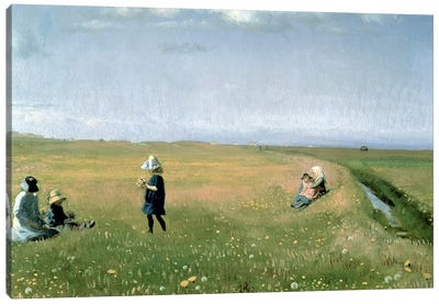 Children and Young Girls picking Flowers in a meadow north of Skagen Canvas Art Print