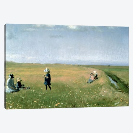 Children and Young Girls picking Flowers in a meadow north of Skagen Canvas Print #BMN544} by Michael Peter Ancher Canvas Wall Art