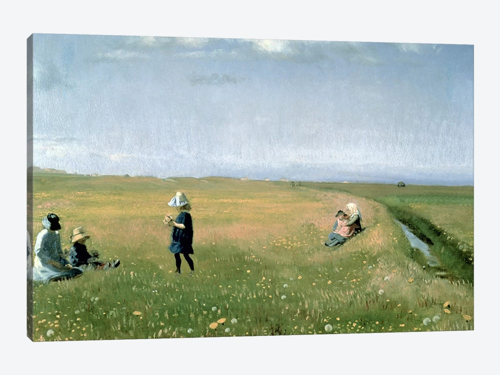 Children and Young Girls picking Flowers in a meadow north of Skagen by Michael Peter Ancher 1-piece Art Print
