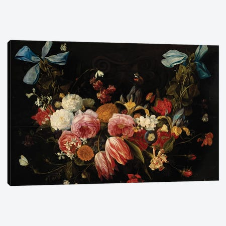 A Swag of Roses, Tulips, Dahlias and other Flowers  Canvas Print #BMN5464} by Jan van Kessel Canvas Art