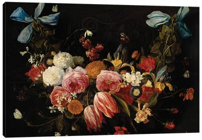 A Swag of Roses, Tulips, Dahlias and other Flowers  Canvas Art Print