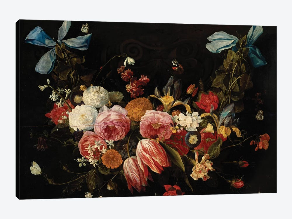 A Swag of Roses, Tulips, Dahlias and other Flowers  by Jan van Kessel 1-piece Canvas Art