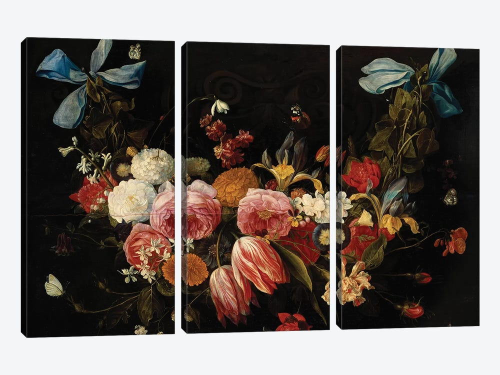 A Swag of Roses, Tulips, Dahlias and other Flowers  by Jan van Kessel 3-piece Canvas Artwork