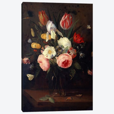 Roses, Tulips and other Flowers in a Glass Vase, with Insects, on a Table  Canvas Print #BMN5465} by Jan van Kessel Canvas Wall Art