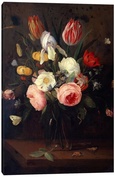 Roses, Tulips and other Flowers in a Glass Vase, with Insects, on a Table  Canvas Art Print