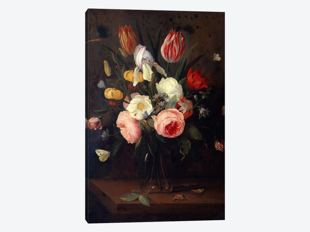 Roses, Tulips and other Flowers in a Glass Vase, with Insects, on a Table  by Jan van Kessel 1-piece Art Print
