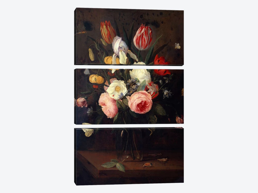 Roses, Tulips and other Flowers in a Glass Vase, with Insects, on a Table  by Jan van Kessel 3-piece Canvas Art Print