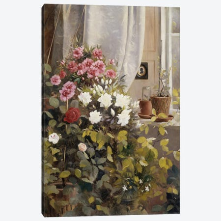 Azaleas, Geraniums, Roses and other Potted Plants by a Window, 1888  Canvas Print #BMN5466} by Carl Christian Carlsen Canvas Wall Art