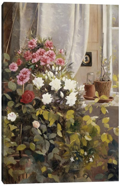 Azaleas, Geraniums, Roses and other Potted Plants by a Window, 1888  Canvas Art Print