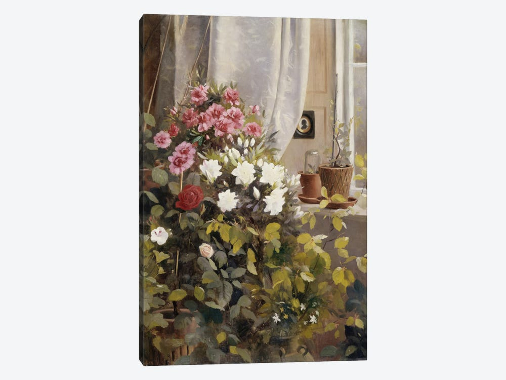 Azaleas, Geraniums, Roses and other Potted Plants by a Window, 1888  by Carl Christian Carlsen 1-piece Canvas Artwork