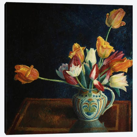 Tulips in a Staffordshire Jug  Canvas Print #BMN5468} by Dora Carrington Art Print