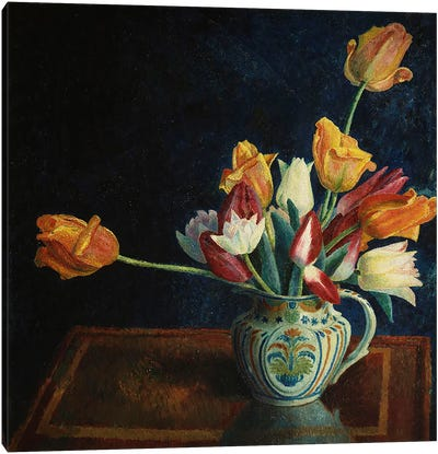 Tulips in a Staffordshire Jug  Canvas Art Print