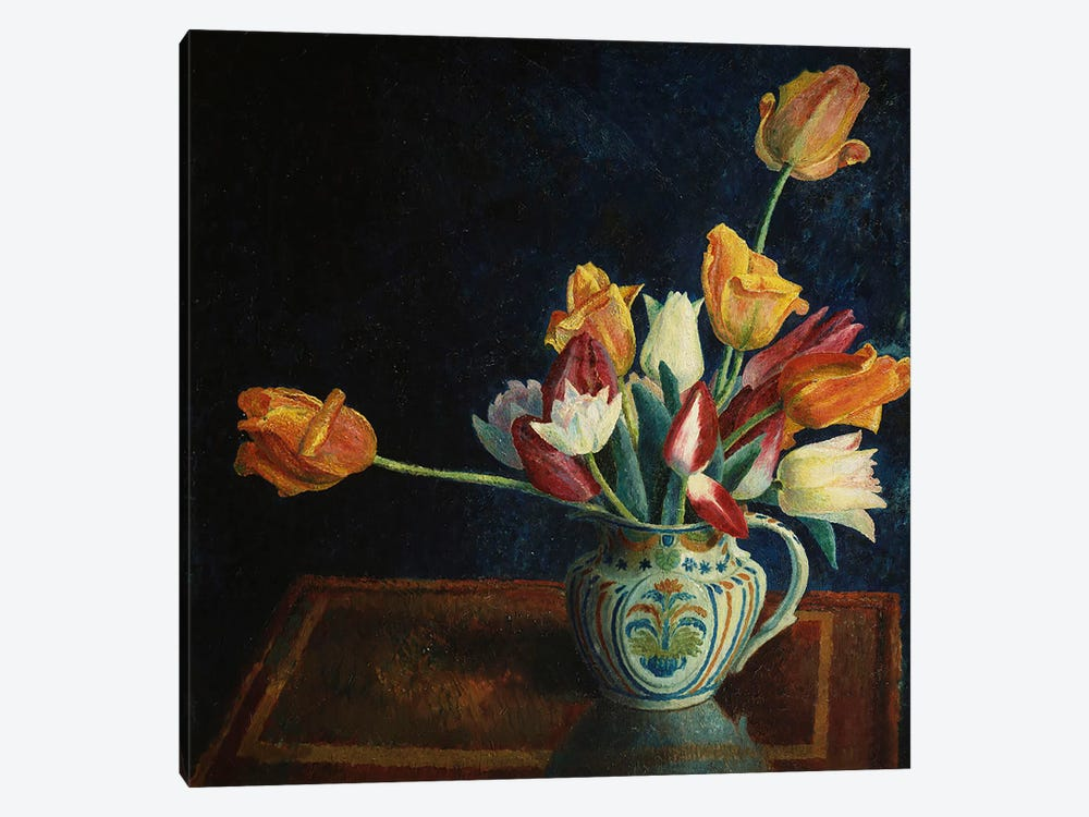 Tulips in a Staffordshire Jug  by Dora Carrington 1-piece Canvas Wall Art