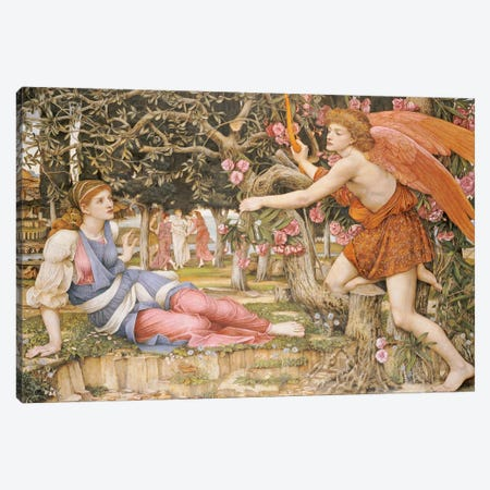 Love and the Maiden, 1877  Canvas Print #BMN5474} by John Roddam Spencer Stanhope Canvas Print