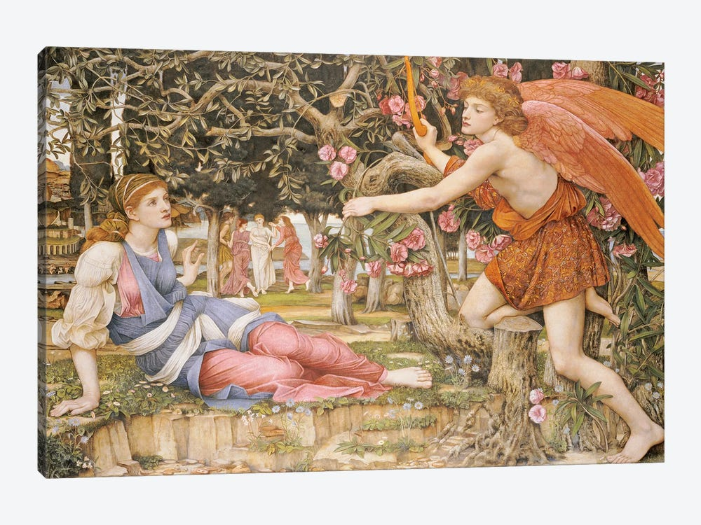 Love and the Maiden, 1877  by John Roddam Spencer Stanhope 1-piece Canvas Art Print