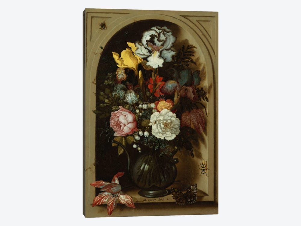 Irises, Roses, Lily of the Valley and other Flowers in a Glass Vase in a Niche, 1621  by Balthasar van der Ast 1-piece Canvas Artwork