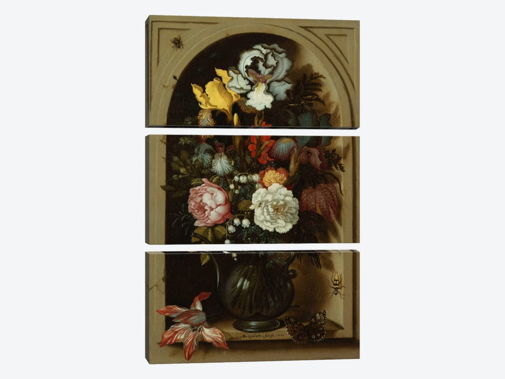 Irises, Roses, Lily of the Valley and other Flowers in a Glass Vase in a Niche, 1621  by Balthasar van der Ast 3-piece Canvas Wall Art