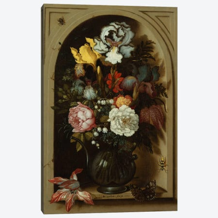 Irises, Roses, Lily of the Valley and other Flowers in a Glass Vase in a Niche, 1621  Canvas Print #BMN5475} by Balthasar van der Ast Canvas Art Print