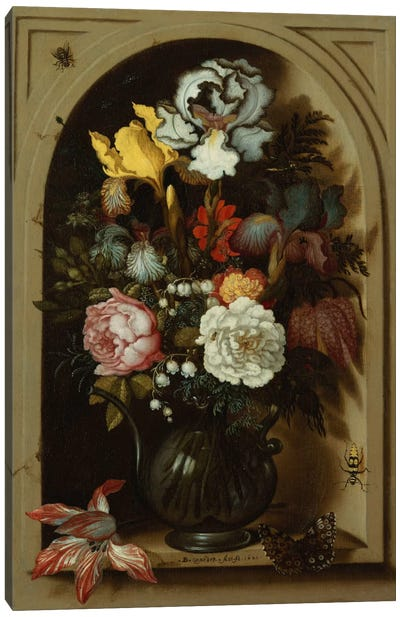 Irises, Roses, Lily of the Valley and other Flowers in a Glass Vase in a Niche, 1621  Canvas Art Print
