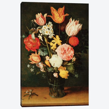 Tulips, Roses and other Flowers in a Glass Vase  Canvas Print #BMN5476} by Balthasar van der Ast Canvas Art Print
