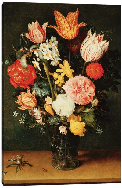 Tulips, Roses and other Flowers in a Glass Vase  Canvas Art Print